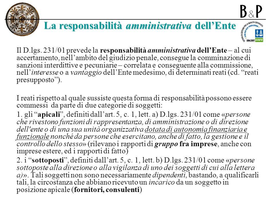 La responsabilità amministrativa dell'Ente