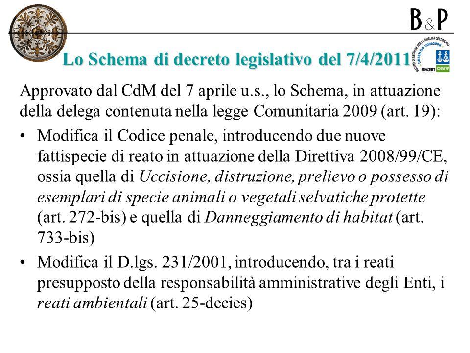 Lo Schema di decreto legislativo del 7/4/2011