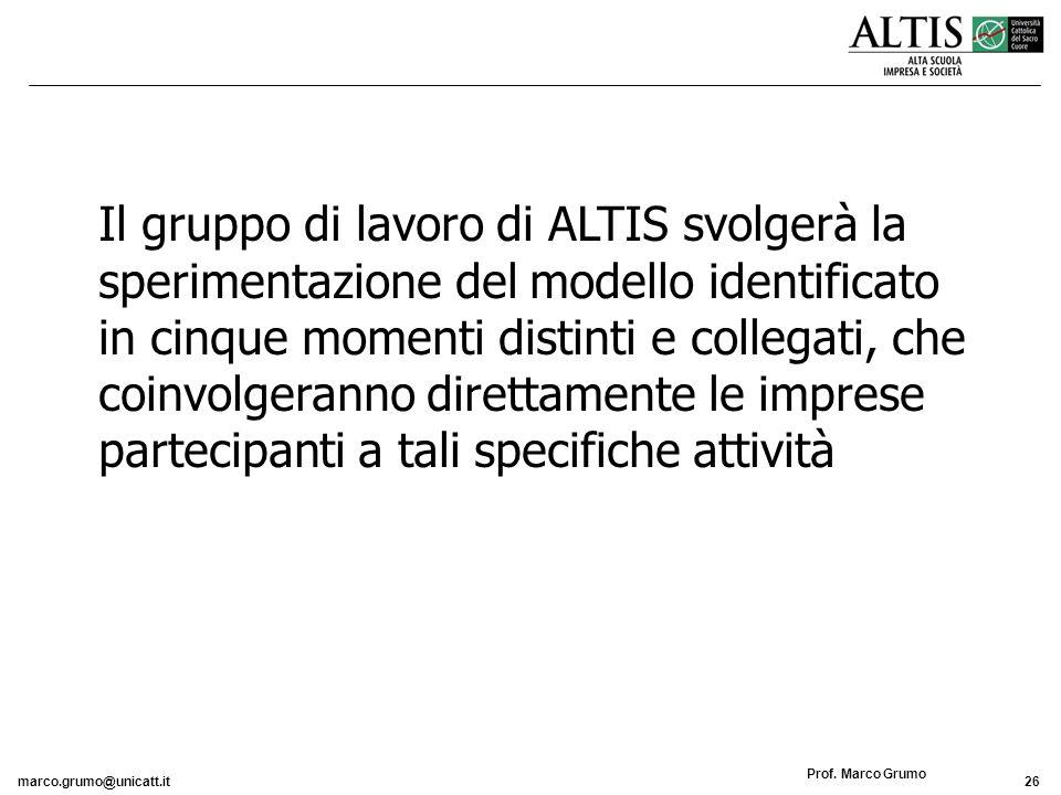 Il gruppo di lavoro di ALTIS svolgerà la sperimentazione del modello identificato in cinque momenti distinti e collegati, che coinvolgeranno direttamente le imprese partecipanti a tali specifiche attività
