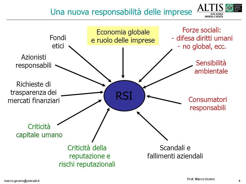 RSI Una nuova responsabilità delle imprese Forze sociali: