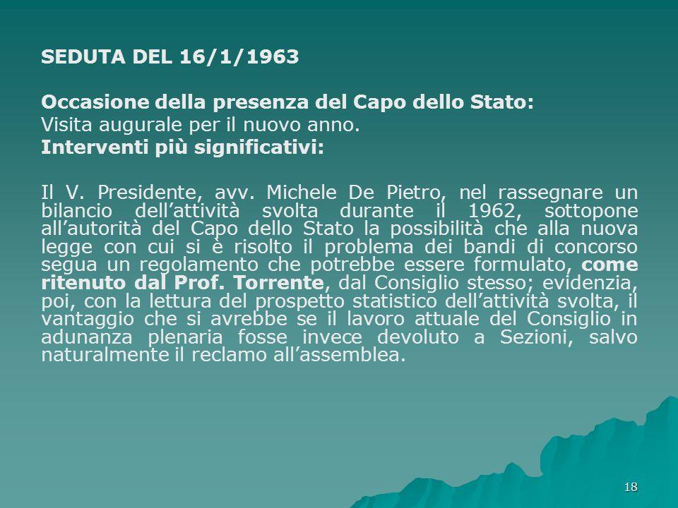 SEDUTA DEL 16/1/1963 Occasione della presenza del Capo dello Stato: Visita augurale per il nuovo anno.
