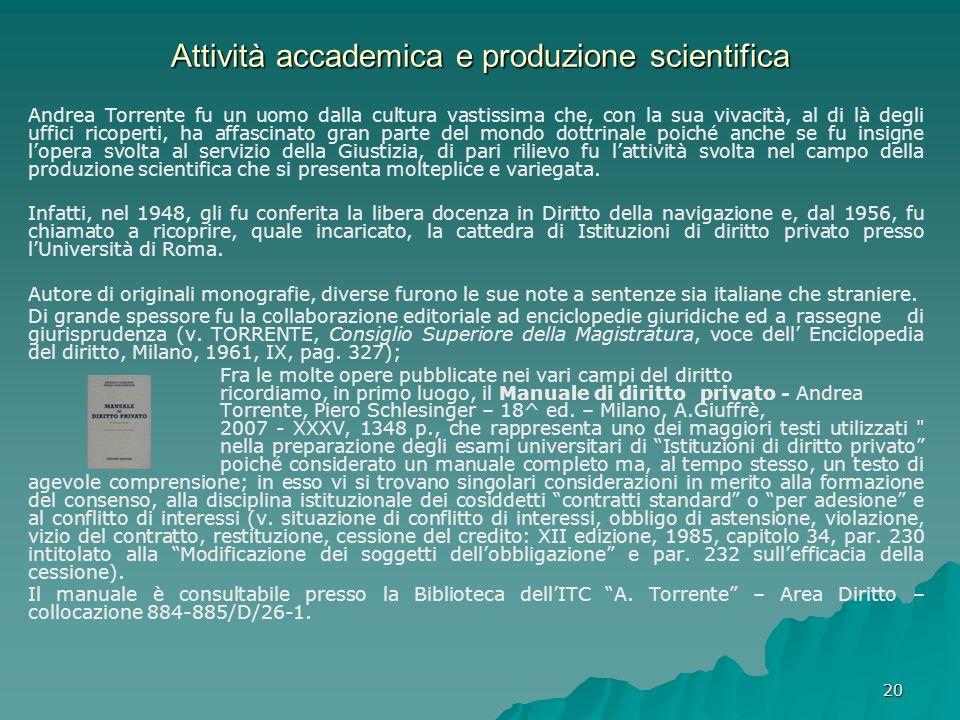 Attività accademica e produzione scientifica