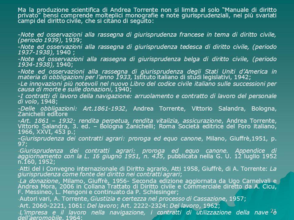 Ma la produzione scientifica di Andrea Torrente non si limita al solo Manuale di diritto privato bensì comprende molteplici monografie e note giurisprudenziali, nei più svariati campi del diritto civile, che si citano di seguito: