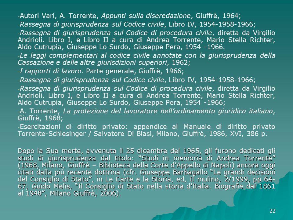 Autori Vari, A. Torrente, Appunti sulla diseredazione, Giuffrè, 1964;