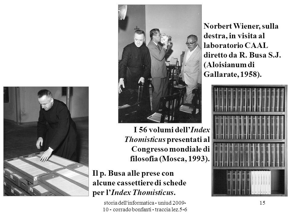 Norbert Wiener, sulla destra, in visita al laboratorio CAAL diretto da R. Busa S.J. (Aloisianum di Gallarate, 1958).