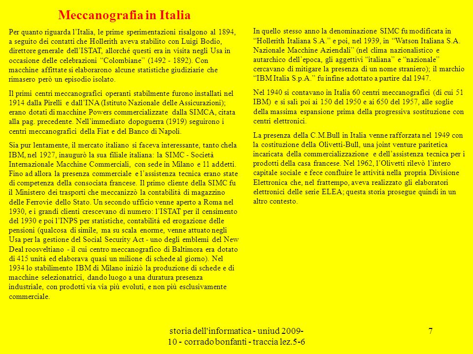 Meccanografia in Italia