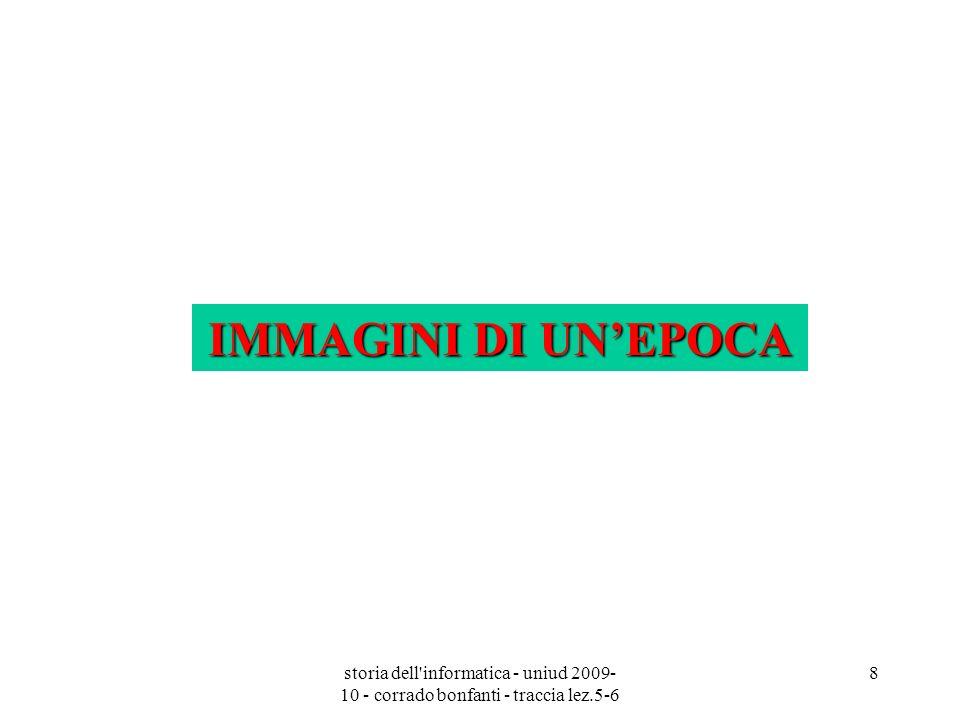 IMMAGINI DI UN'EPOCA storia dell informatica - uniud 2009-10 - corrado bonfanti - traccia lez.5-6