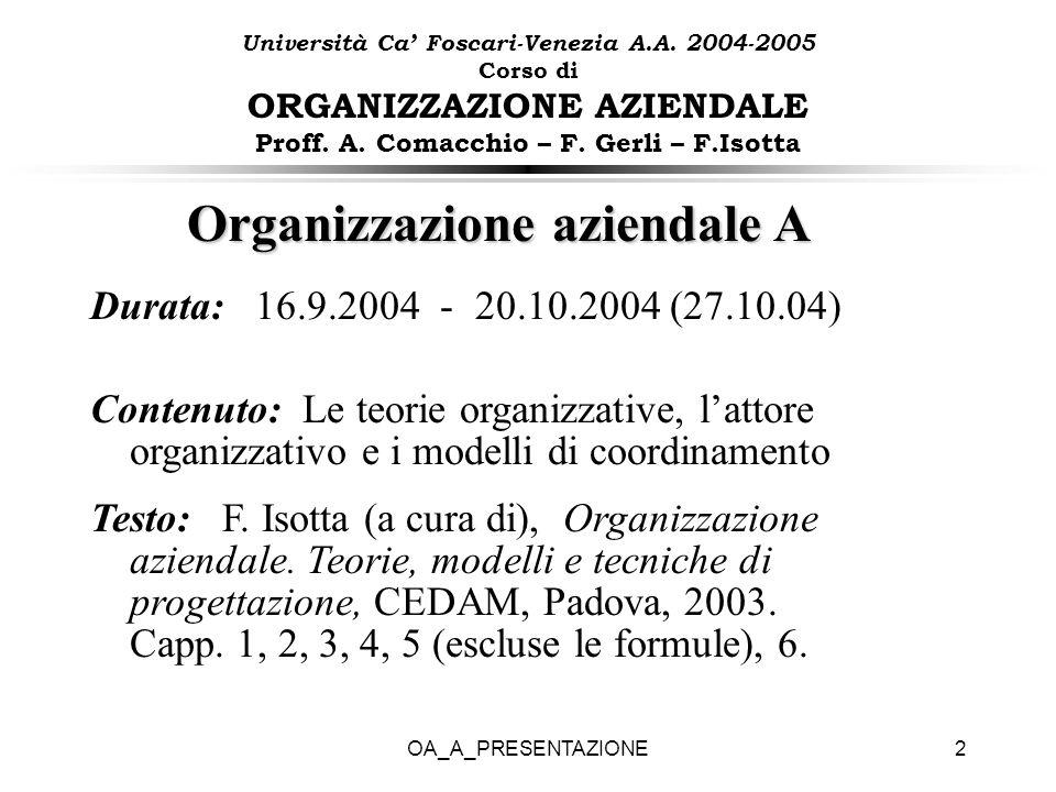 Organizzazione aziendale A