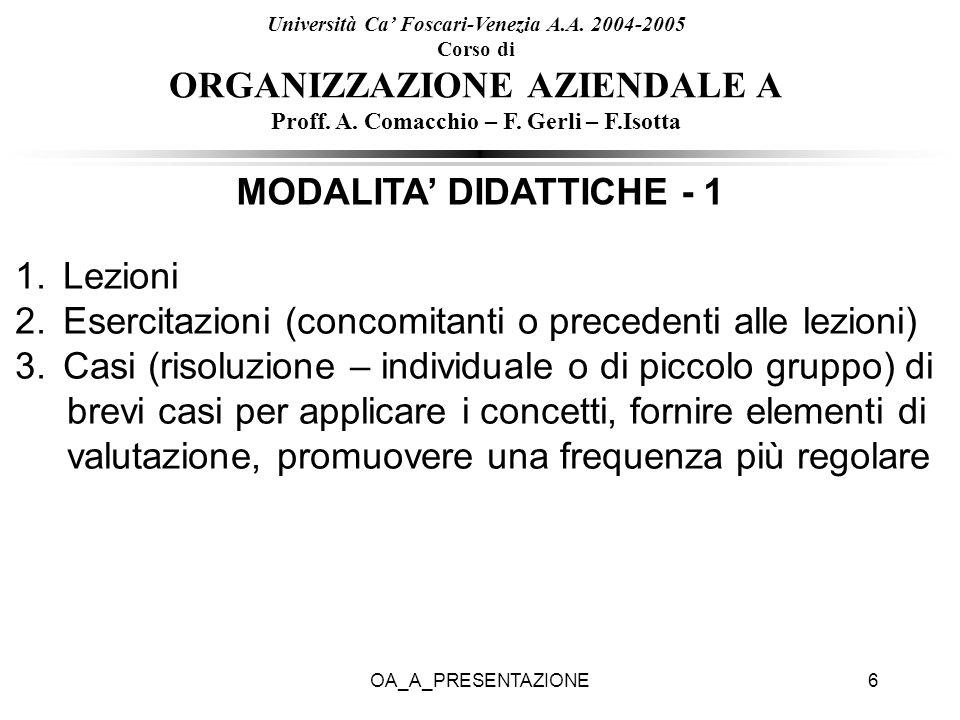 MODALITA' DIDATTICHE - 1