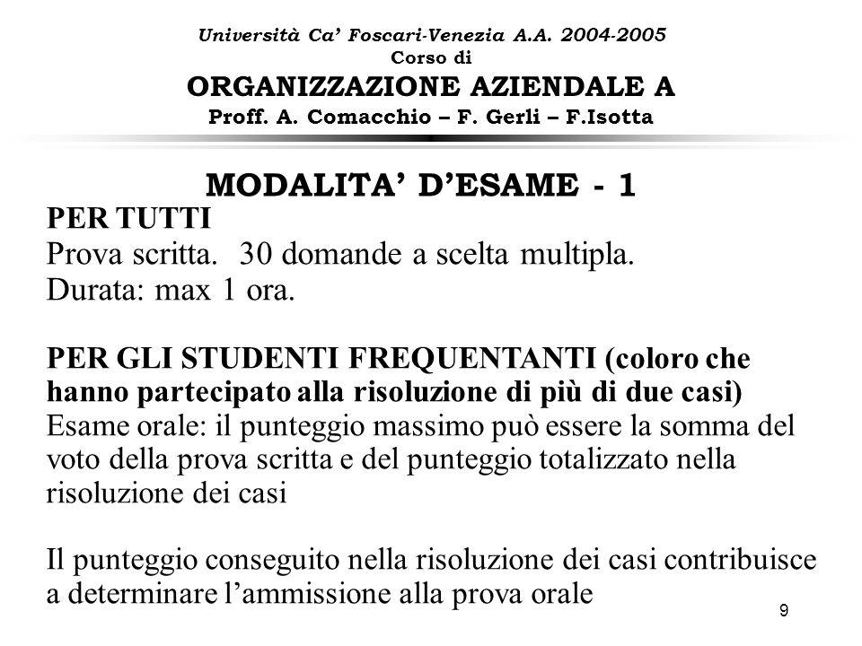 Proff. A. Comacchio – F. Gerli – F.Isotta