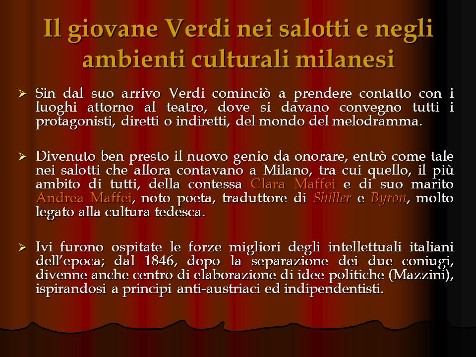 Il giovane Verdi nei salotti e negli ambienti culturali milanesi