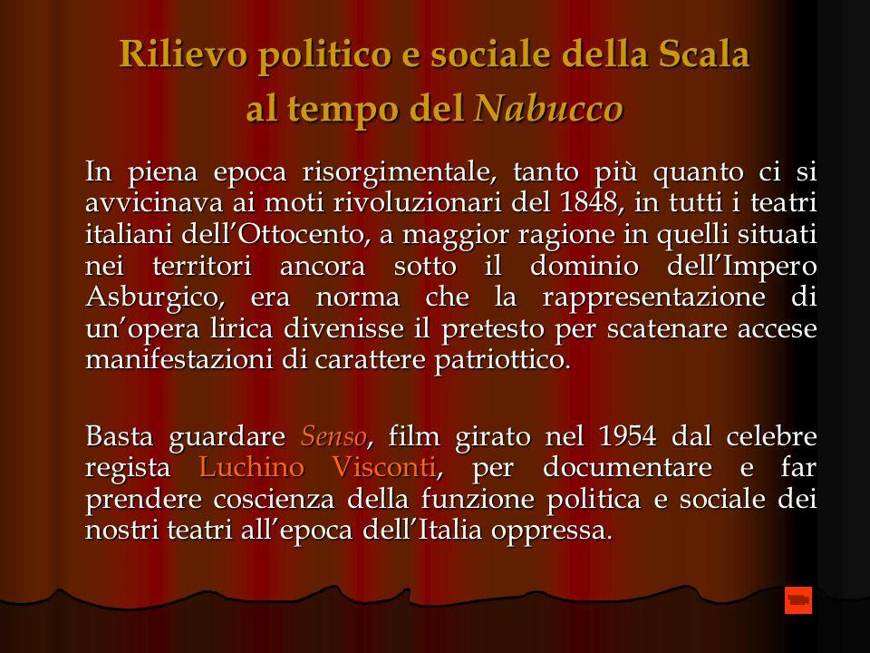 Rilievo politico e sociale della Scala al tempo del Nabucco