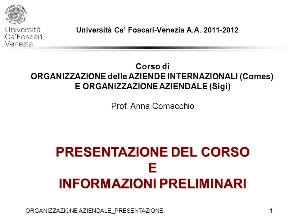 Università Ca' Foscari-Venezia A.A. 2011-2012