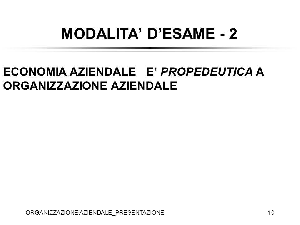 MODALITA' D'ESAME - 2 ECONOMIA AZIENDALE E' PROPEDEUTICA A ORGANIZZAZIONE AZIENDALE.