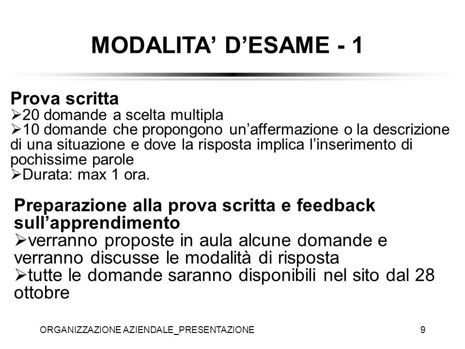 MODALITA' D'ESAME - 1 Prova scritta