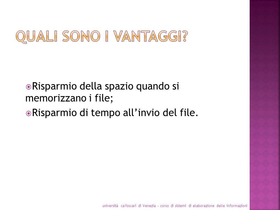 Quali sono i vantaggi Risparmio della spazio quando si memorizzano i file; Risparmio di tempo all'invio del file.