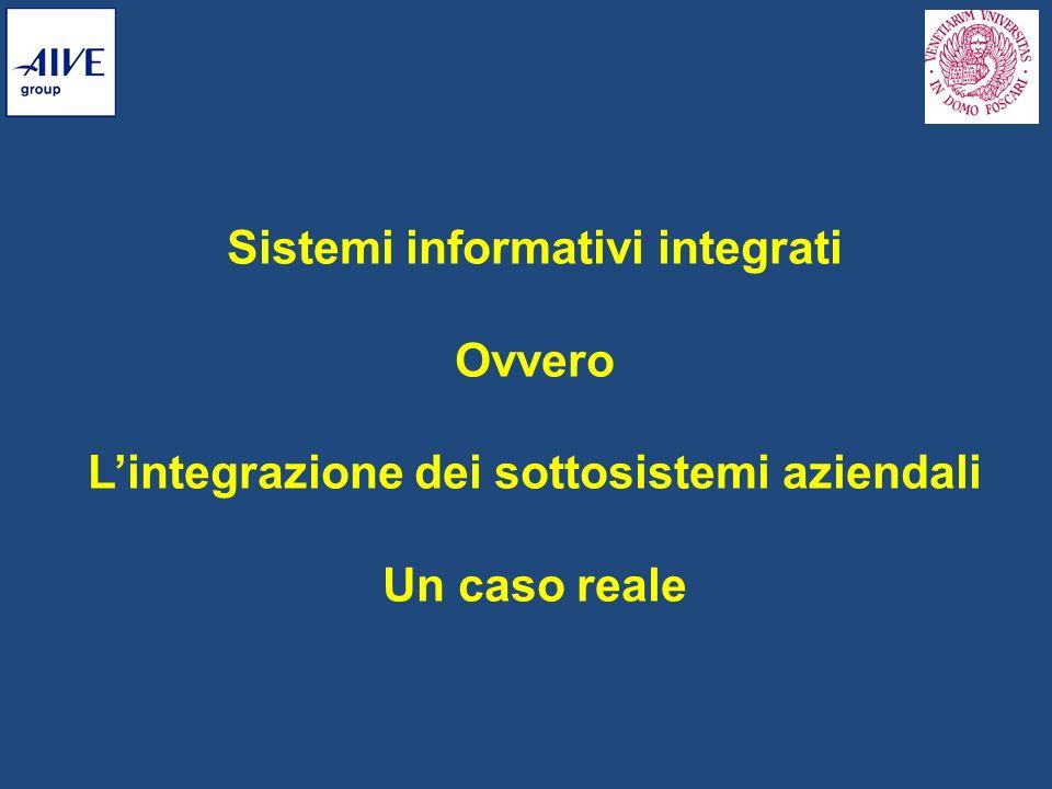 Sistemi informativi integrati Ovvero