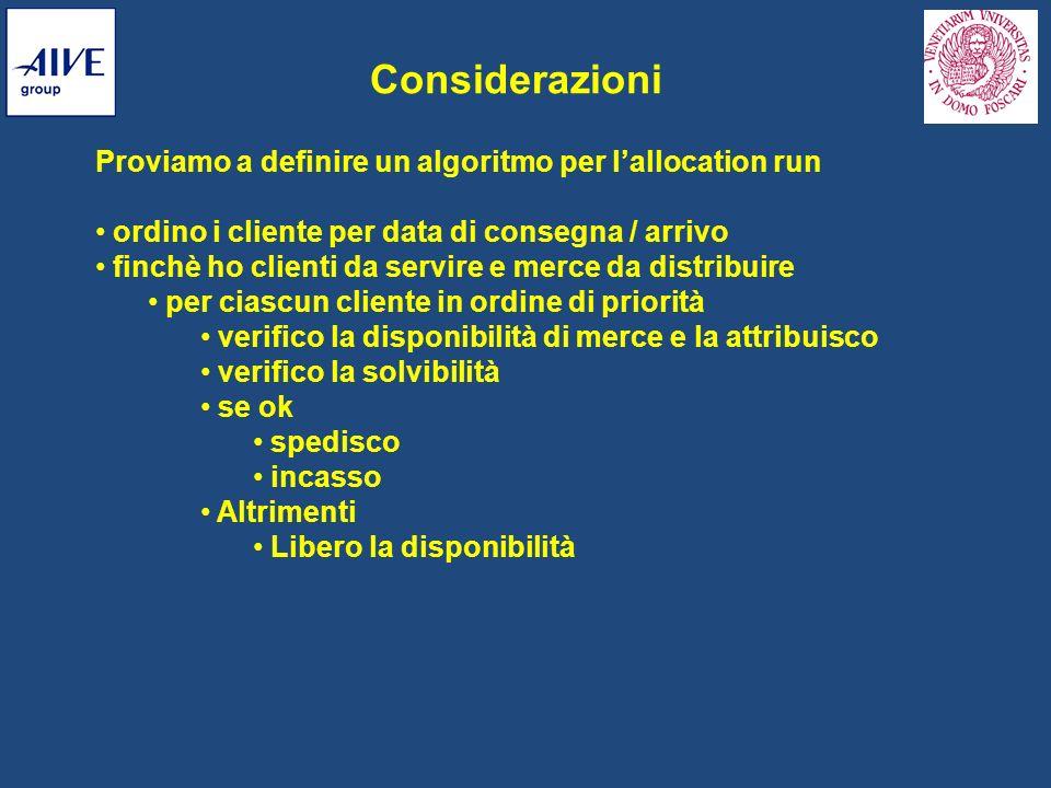 Considerazioni Proviamo a definire un algoritmo per l'allocation run