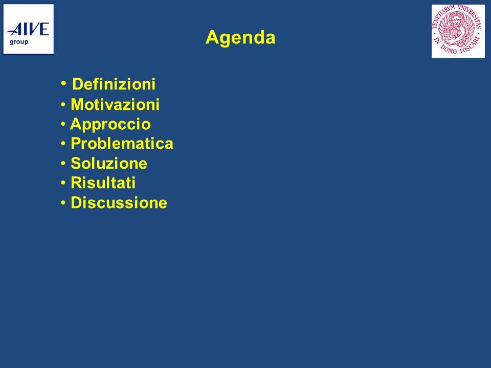 Agenda Definizioni Motivazioni Approccio Problematica Soluzione