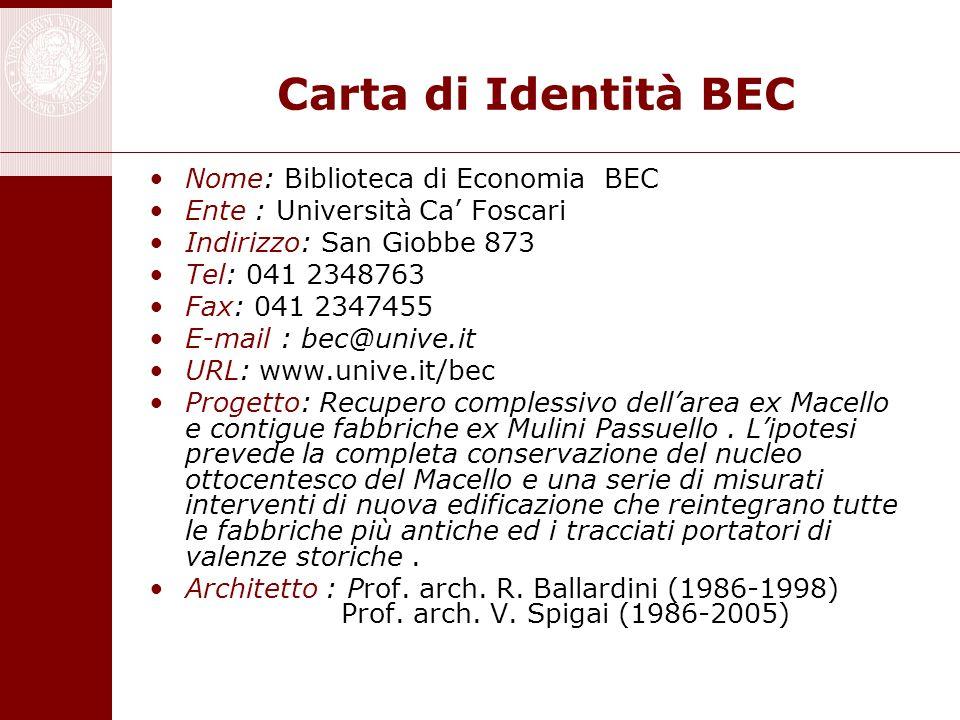 Carta di Identità BEC Nome: Biblioteca di Economia BEC