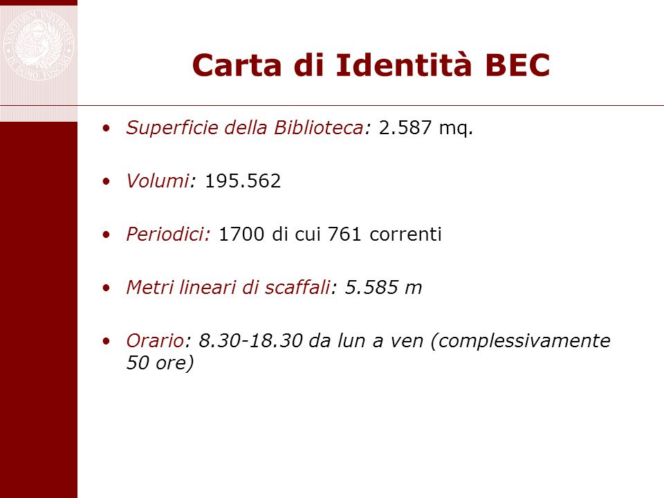 Carta di Identità BEC Superficie della Biblioteca: 2.587 mq.