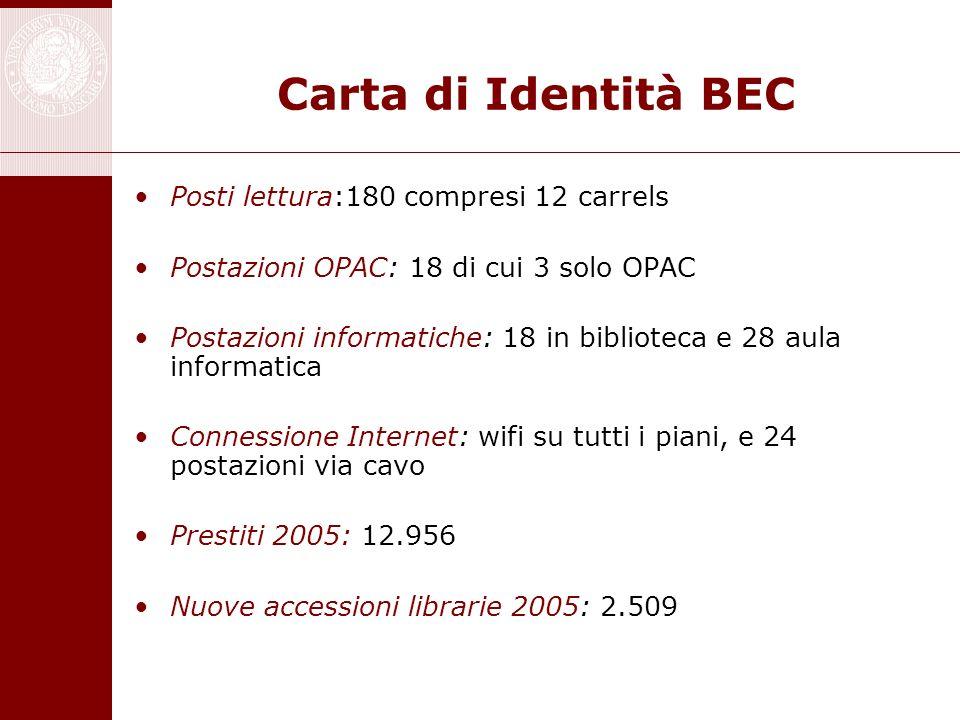 Carta di Identità BEC Posti lettura:180 compresi 12 carrels