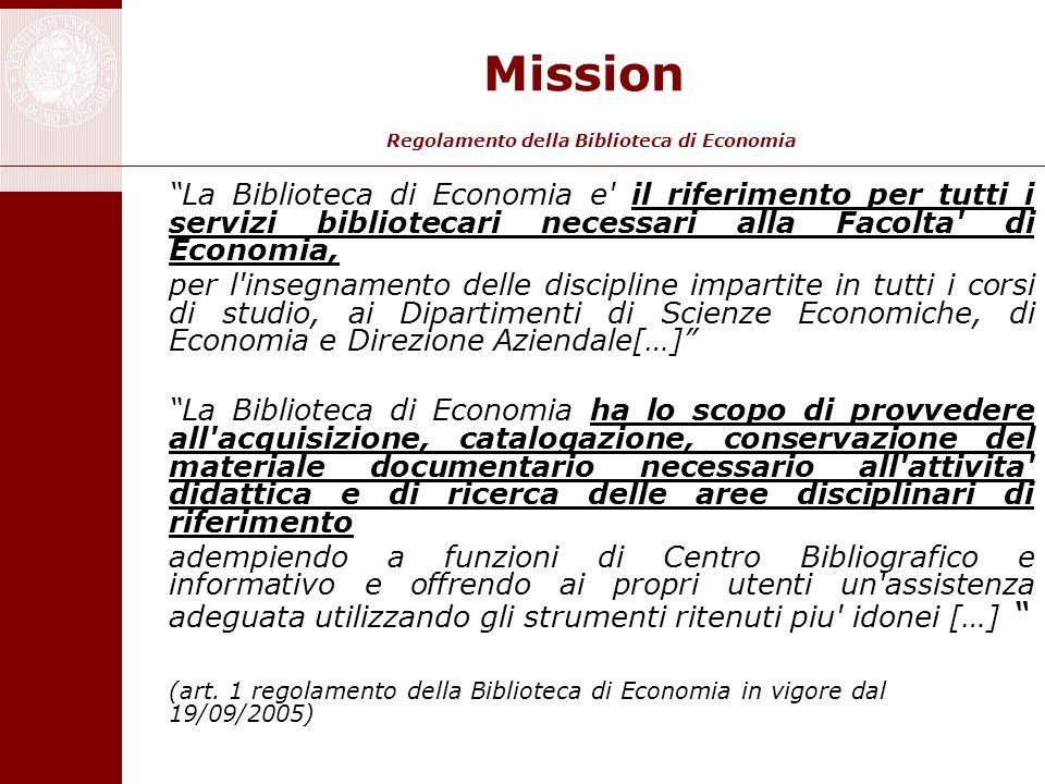 Mission Regolamento della Biblioteca di Economia