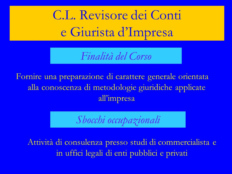 C.L. Revisore dei Conti e Giurista d'Impresa