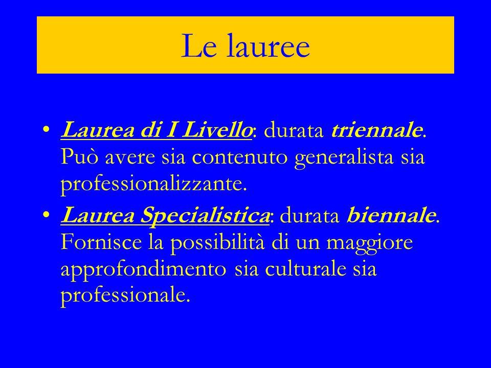Le lauree Laurea di I Livello: durata triennale. Può avere sia contenuto generalista sia professionalizzante.
