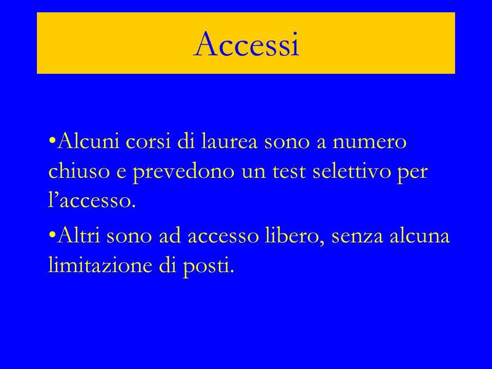 Accessi Alcuni corsi di laurea sono a numero chiuso e prevedono un test selettivo per l'accesso.