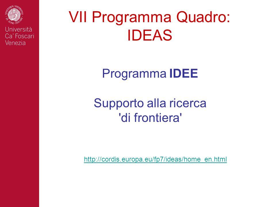 VII Programma Quadro: IDEAS