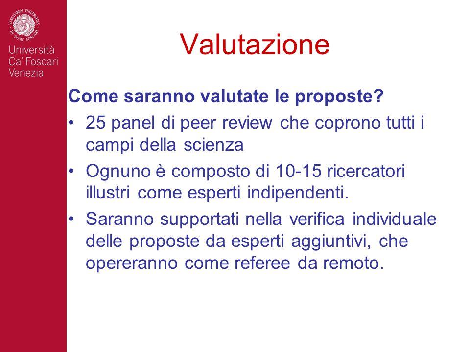 Valutazione Come saranno valutate le proposte