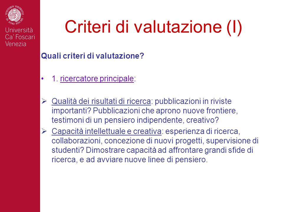 Criteri di valutazione (I)