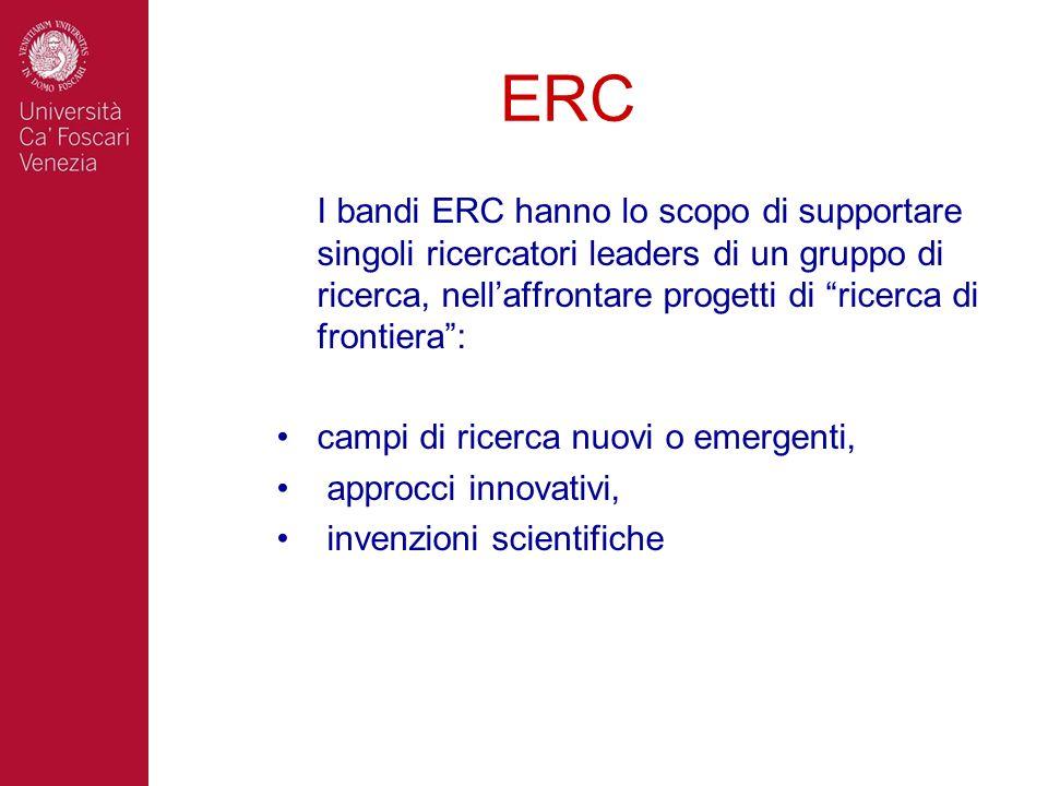ERC I bandi ERC hanno lo scopo di supportare singoli ricercatori leaders di un gruppo di ricerca, nell'affrontare progetti di ricerca di frontiera :