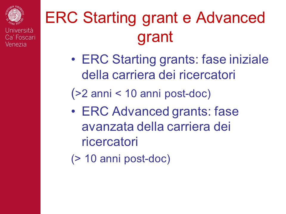 ERC Starting grant e Advanced grant