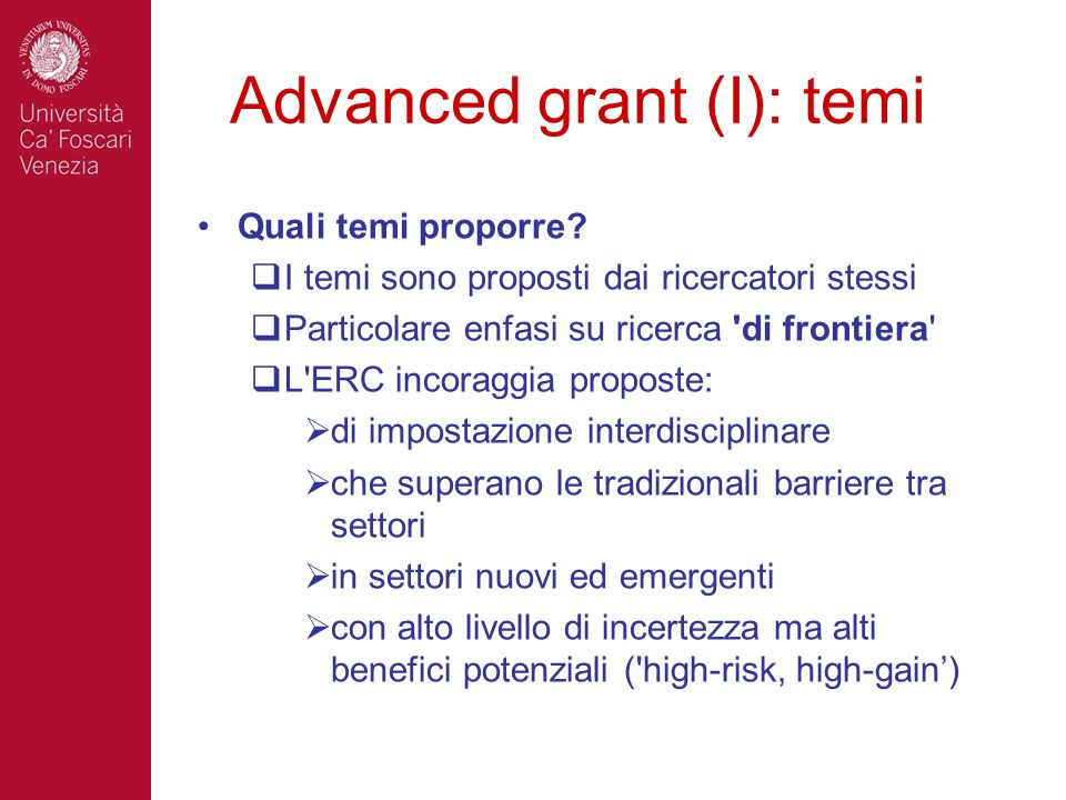 Advanced grant (I): temi