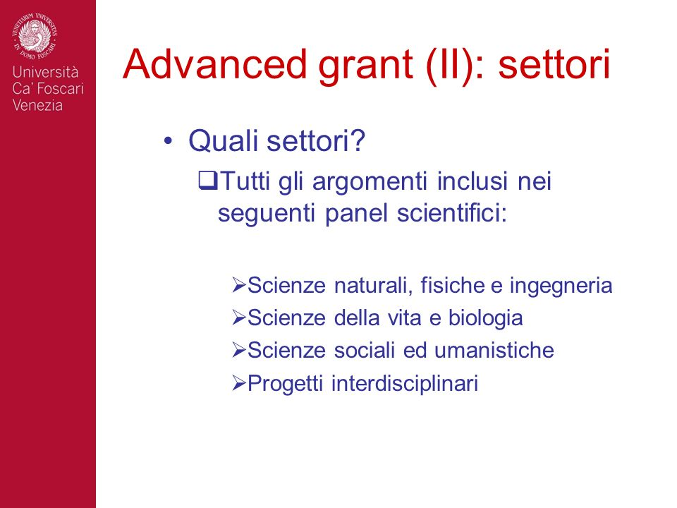 Advanced grant (II): settori