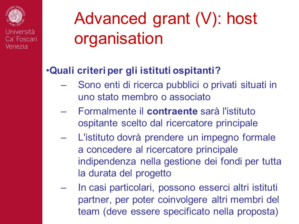 Advanced grant (V): host organisation