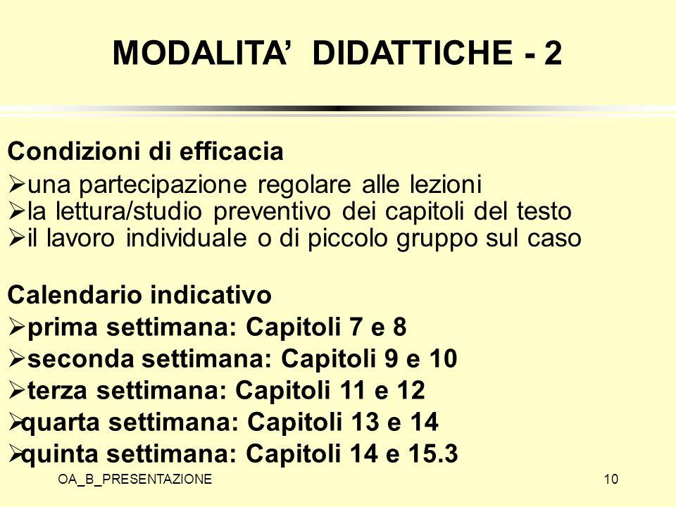 MODALITA' DIDATTICHE - 2 Condizioni di efficacia