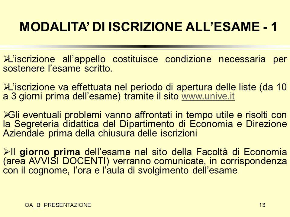 MODALITA' DI ISCRIZIONE ALL'ESAME - 1