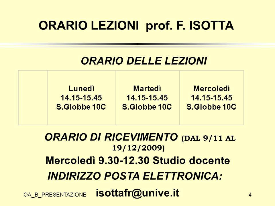 ORARIO LEZIONI prof. F. ISOTTA