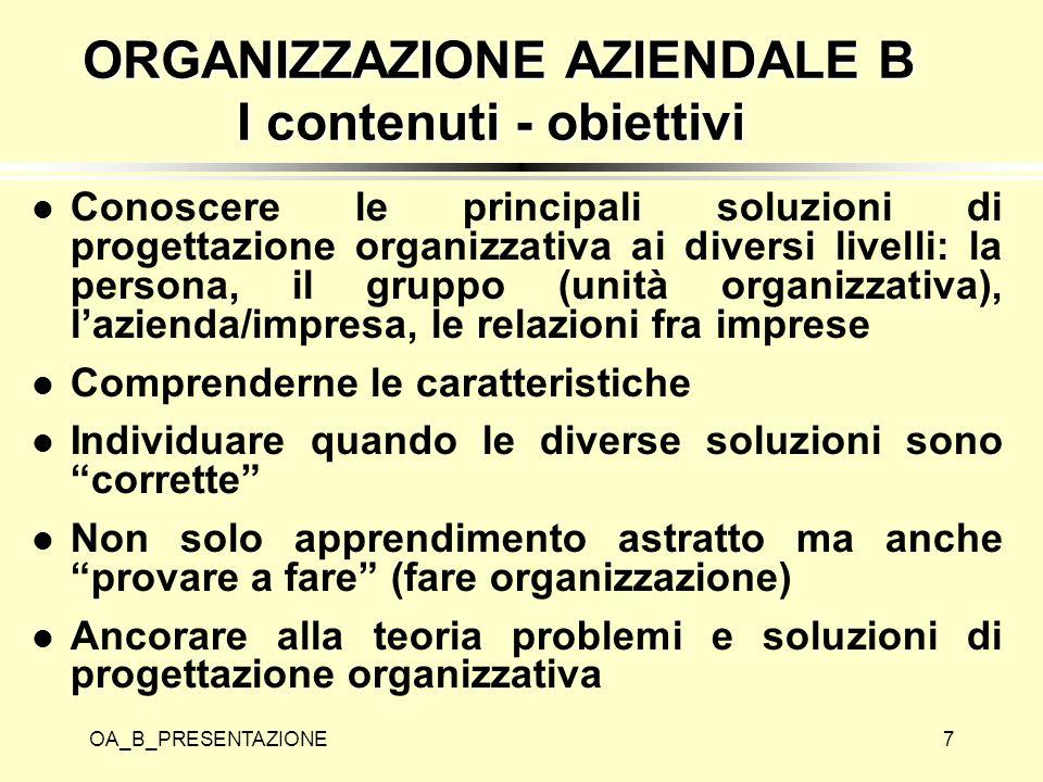 ORGANIZZAZIONE AZIENDALE B I contenuti - obiettivi