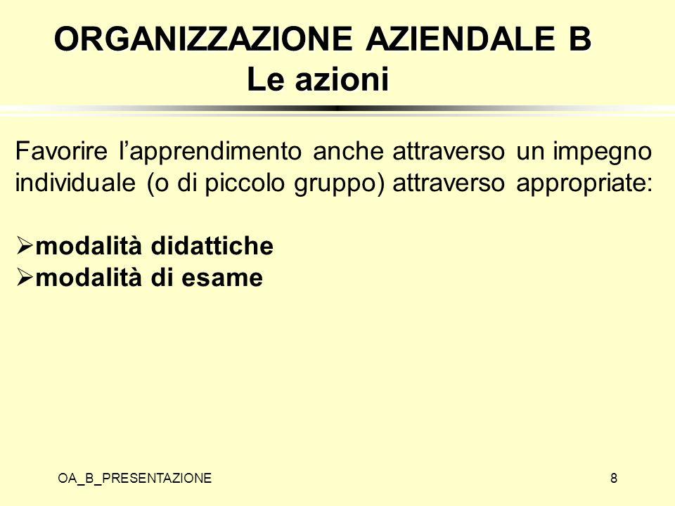 ORGANIZZAZIONE AZIENDALE B