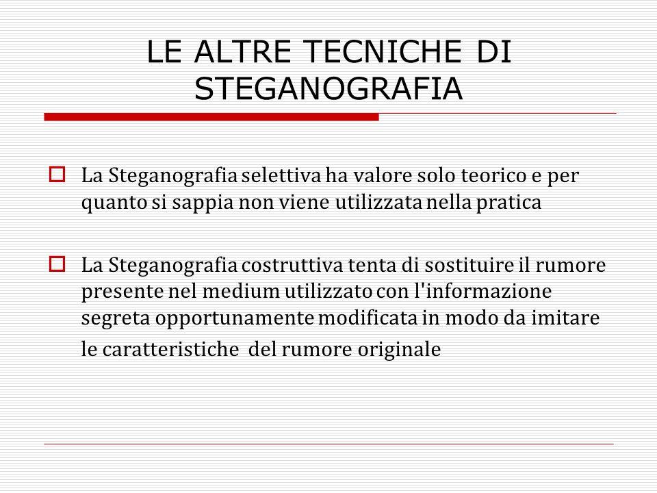 LE ALTRE TECNICHE DI STEGANOGRAFIA