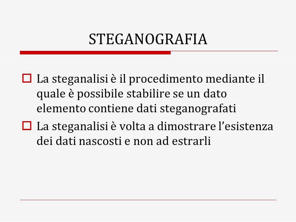 STEGANOGRAFIA La steganalisi è il procedimento mediante il quale è possibile stabilire se un dato elemento contiene dati steganografati.