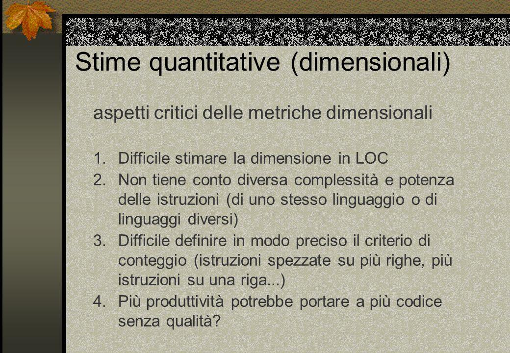 Stime quantitative (dimensionali)