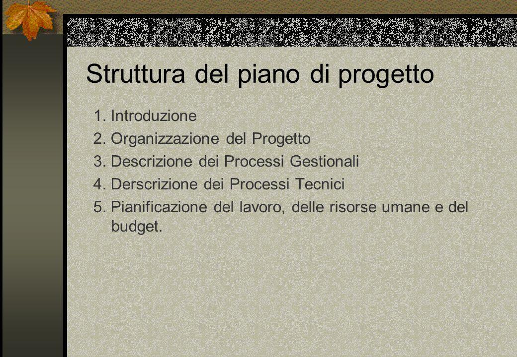 Struttura del piano di progetto