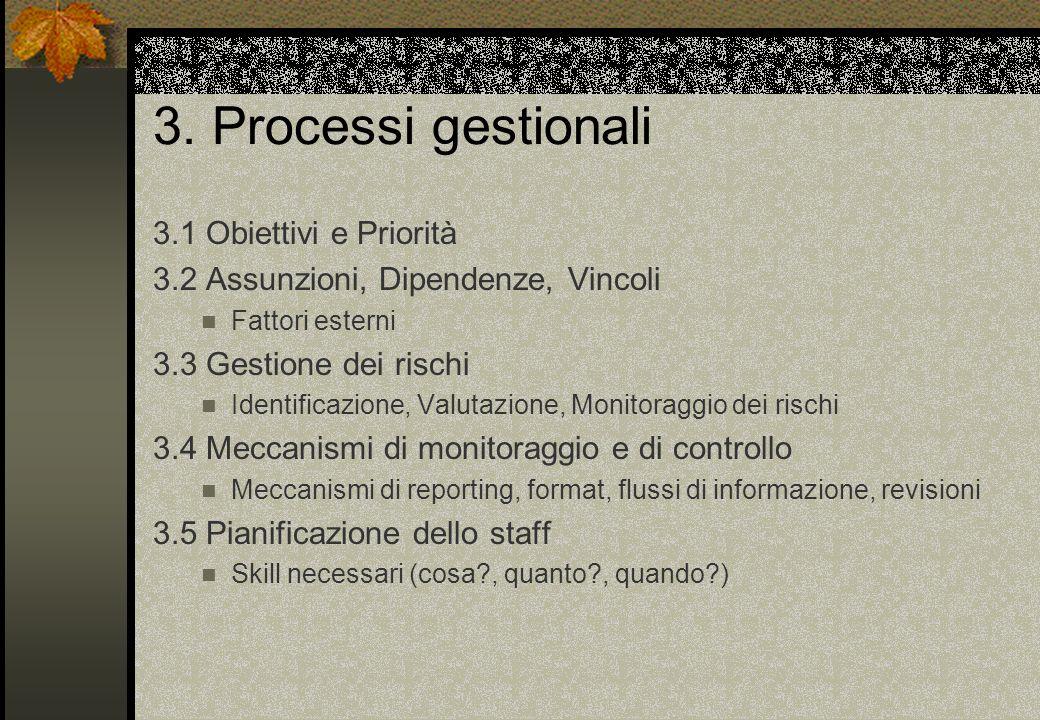 3. Processi gestionali 3.1 Obiettivi e Priorità