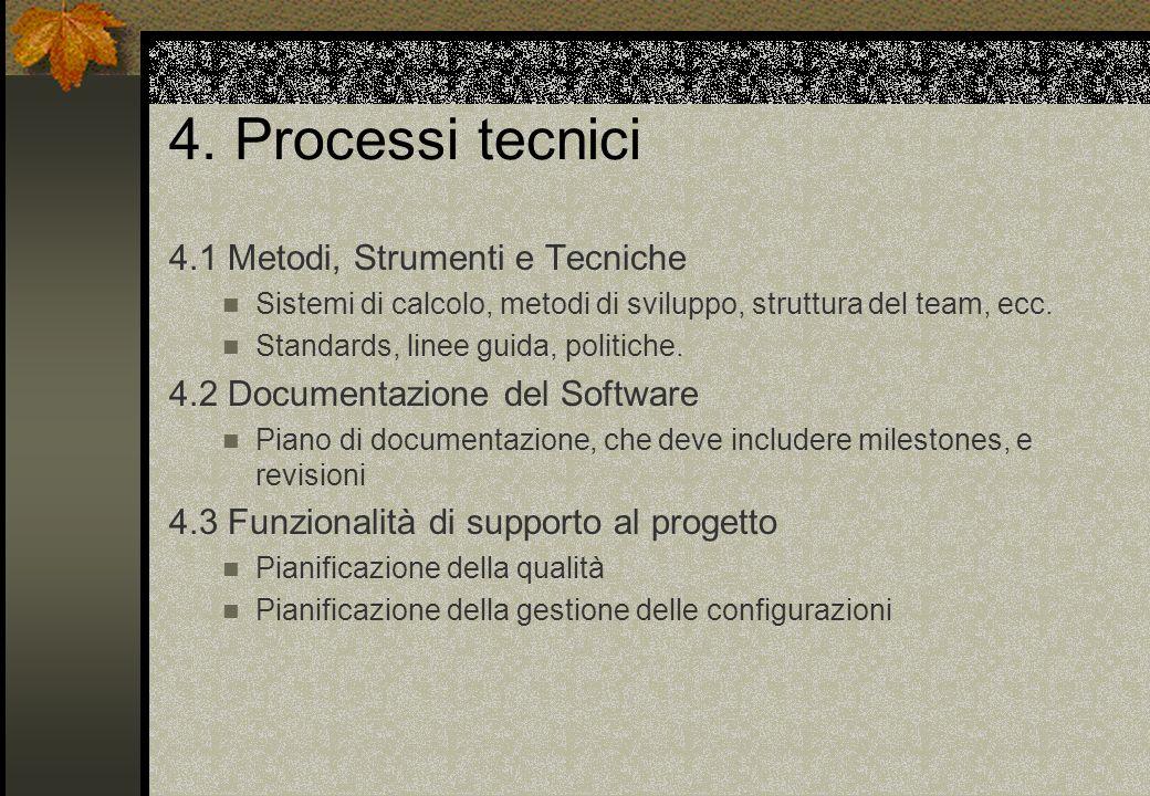 4. Processi tecnici 4.1 Metodi, Strumenti e Tecniche