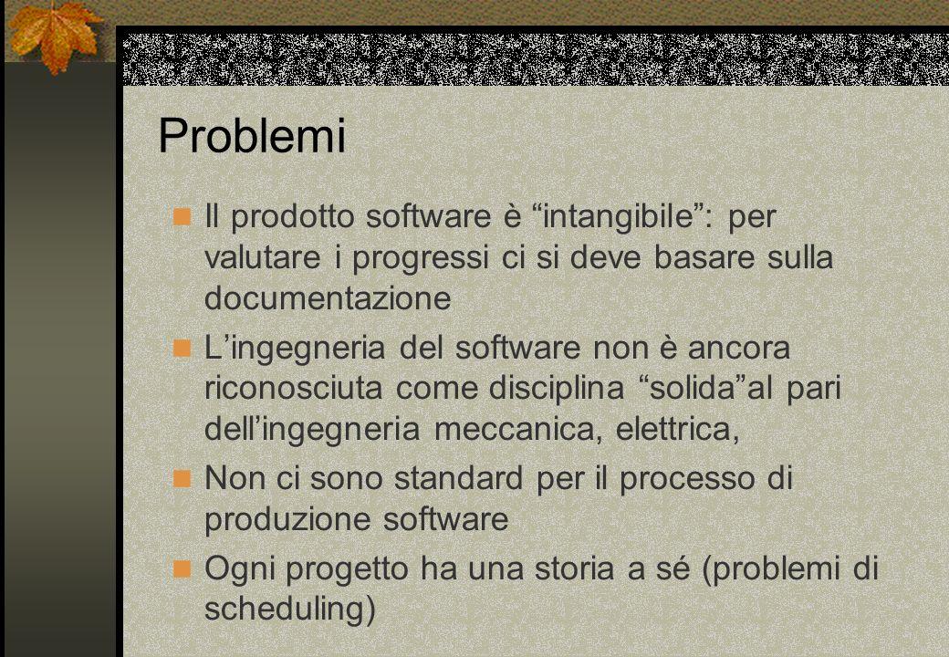 Problemi Il prodotto software è intangibile : per valutare i progressi ci si deve basare sulla documentazione.